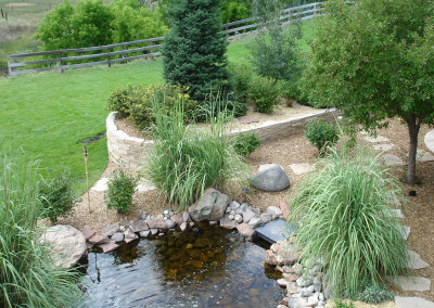 Custom Water Feature, Waterfall, Colorado American Landscape Border, Outdoor Room, Raised Stripstone Planter