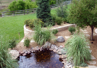 Outdoor Space, Custom Water Feature, Custom Pond, Raised Stripstone Planter