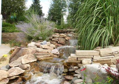 Custom Water Feature, Waterfall, Colorado American Landscape Border
