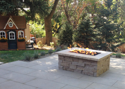 Custom Patio, Custom Stripstone Fire Pit, Outdoor Living Space