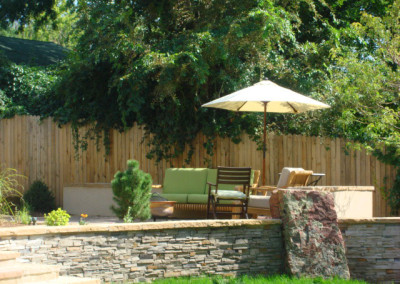 Custom Stripstone Wall With Boulder, Patio, Outdoor Room