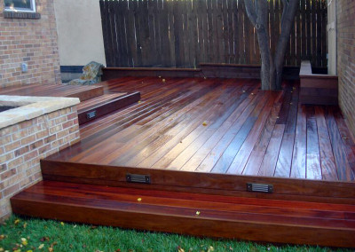 Custom Hardwood Deck, Seat Wall, Raised Brick Planter, Landscape Lighting, Outdoor Room