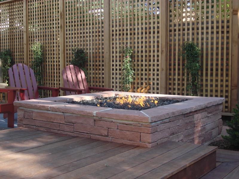 Flagstone Fire Pit, Custom Hardwood Deck, Trellis, Outdoor Room