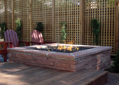 Stripstone Fire Pit, Custom Wood Deck, Trellis Fence, Outdoor Room