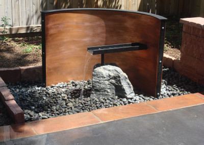 Custom Water Wall and Weir, Zen Garden, Modern Design, Outdoor Room, Concrete Patio