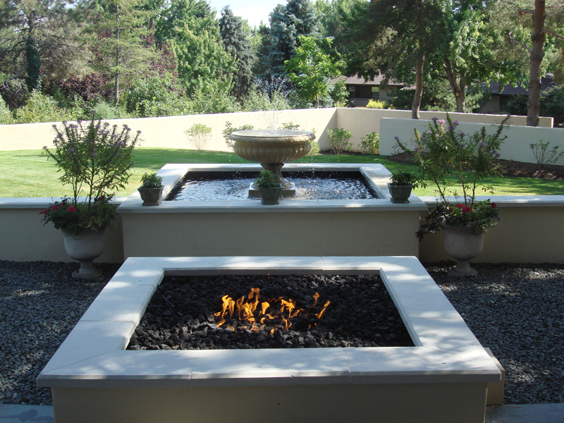 Custom Fire Pit, Formal Water Feature, Ornamental Bed Spaces, Outdoor Room
