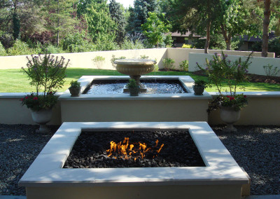 Custom Fire Pit, Formal Fountain, Outdoor Room, Ornamental Bed Spaces