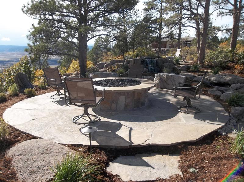 Flagstone Patio, Fire Pit, Outdoor Room, Boulders, Colorado Design