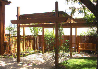 Outdoor Living Space, Custom Pergola, Granite Patio, Ornamental Planting Bed