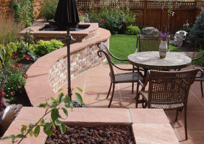 Flagstone Patio, Brick with Flagstone Custom Fire Pit, Outdoor Room, Brick with Flagstone Wall