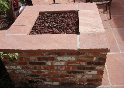 Flagstone Patio, Brick with Flagstone Custom Fire Pit