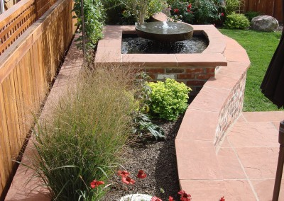 Flagstone Patio, Brick Wall, Ornamental Bed Spaces, Water Feature, Outdoor Room