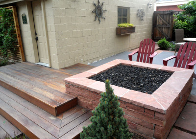 Hardwood Deck, Custom Fire Pit, Outdoor Living Space