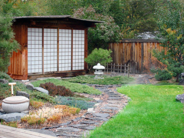 Eastern Design, Stone Path, Outdoor Room, Zen Garden, Ornamental Planting Bed, Custom Shed