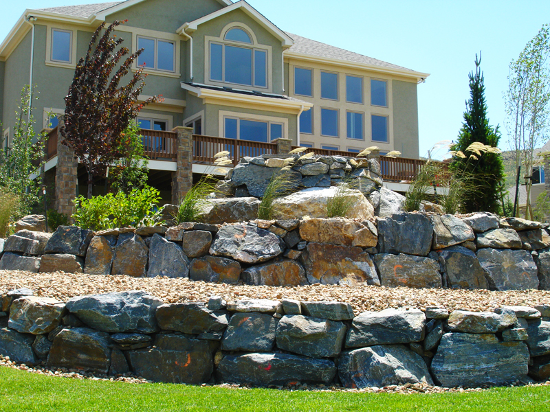 Custom Boulder Wall, Ornamental Bed Space, Functional Beauty