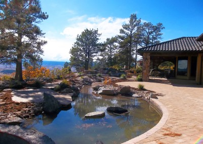 Paver Patio, Custom Boulder Water Feature, Ornamental Bed Spaces, Colorado Design, Outdoor Room
