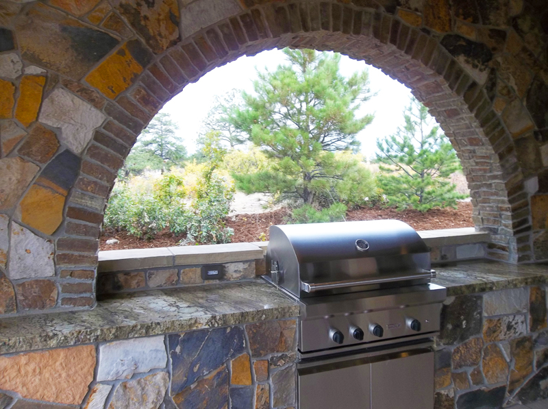 Custom Stone Outdoor Kitchen, Archway, Outdoor Room, Ornamental Bed Spaces