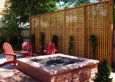Flagstone Fire Pit, Custom Hardwood Deck, Trellis, Outdoor Room