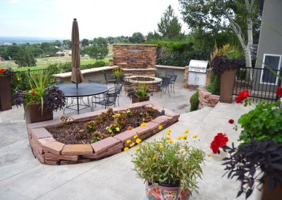Outdoor Living Room, Outdoor Kitchen, Fire Pit, Custom Water Wall Water Feature, Color Falls