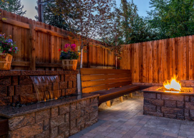 Water Wall Water Feature, Fire Pit, Custom Bench, Paver Patio, Color Falls, Landscape Lighting