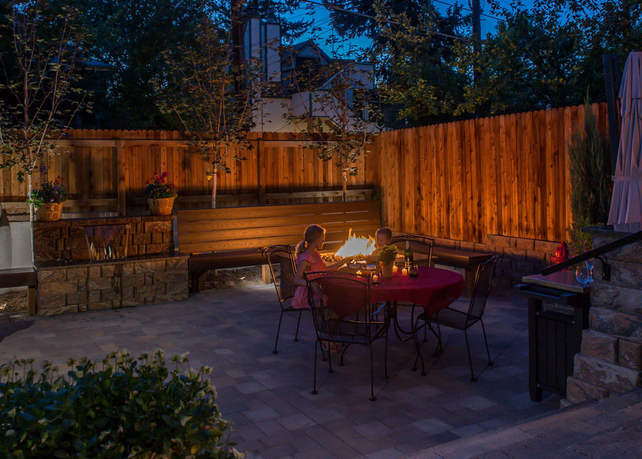 Outdoor Living Space, Paver Patio, Water Wall Water Feature, Color Falls,  Custom