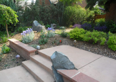 Retaining Wall, Custom Boulder Wall, Concrete Path, Ornamental Planting Bed, Iris's, Lime Mound Spirea