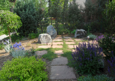 Flagstone Path, Flagstone Patio, Irish moss, Outdoor Room, Boulders