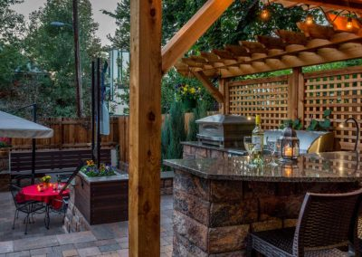 Outdoor Kitchen, Granite Countertop, Pizza Oven, Fire Pit, Pergola