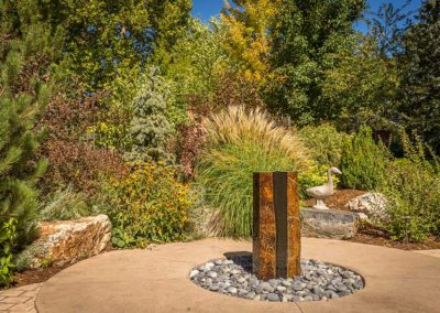 Cored Boulder Water Feature, Patio, Ornamental Flower Bed
