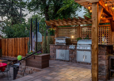 Outdoor Kitchen, Pizza Oven, Fire Pit, Paver Patio, Pergola