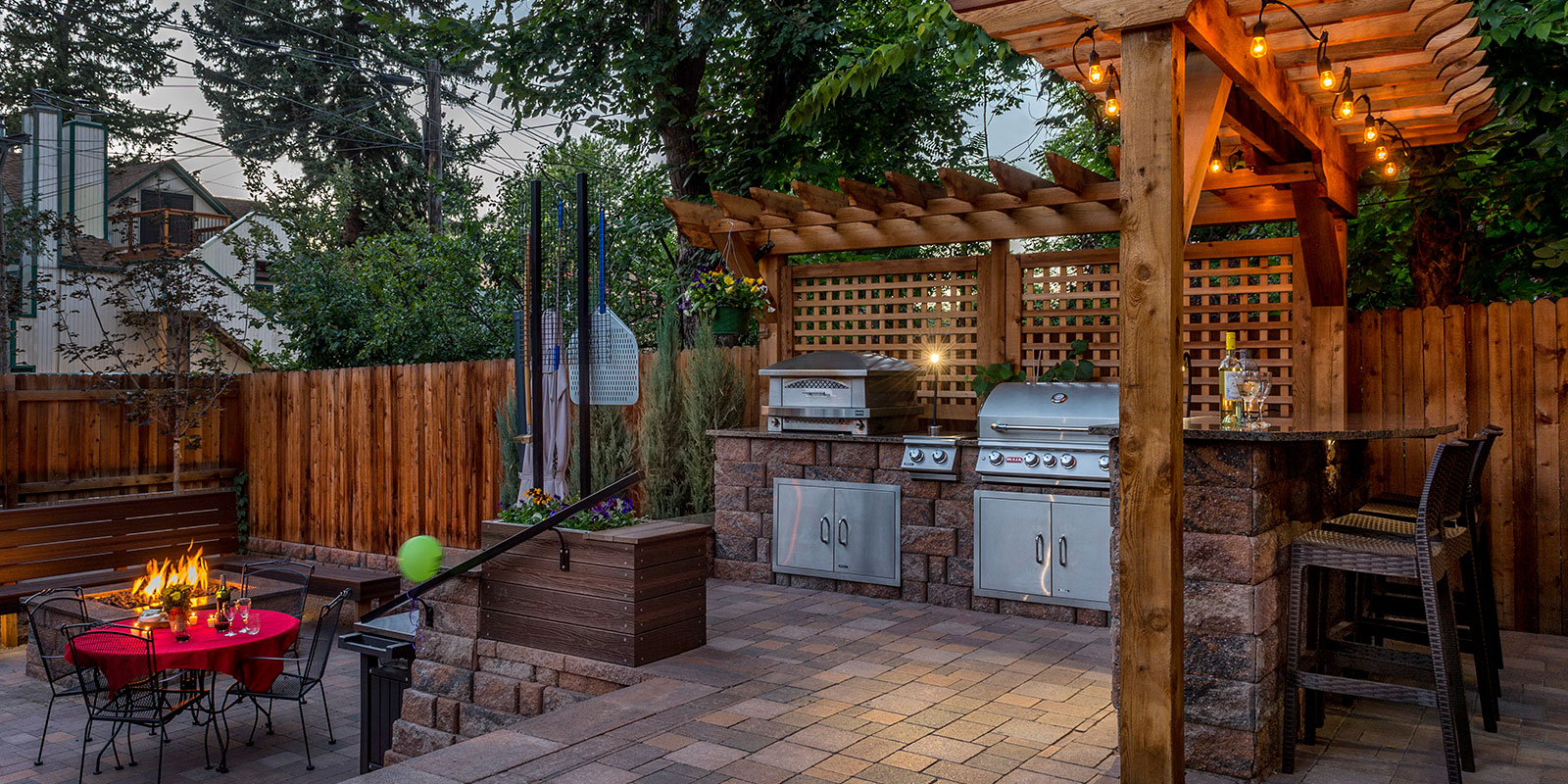 Outdoor Kitchen, Pizza Oven, Fire Pit, Paver Patio, Pergola ...
