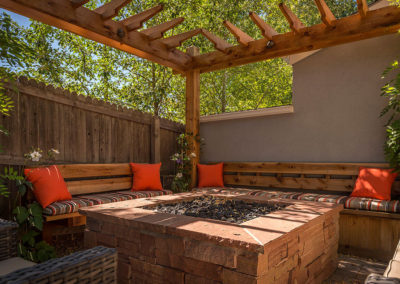 Outdoor Room, Fire Pit, Pergola, Custom Bench