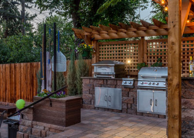 Outdoor Kitchen with Pizza Oven, Pergola, Fire Pit and Patio