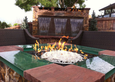 glass and stone firepit